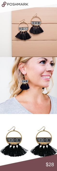 NWT Embroidered Tribal Fringe Earrings Time to fringe out. These super cute earrings are a step in embroidered heaven with a boho black & white tribal pattern. They're about to become your new favorite pair of earrings!  Gets along with: Casual Fridays & leggings as pants Goes great with: Your new weekend song.  Product Details: - Fish hook back - Materials: burnished gold plated hardware - 2.75″ long  This brand is sold at Anthropologie, Nordstrom, and Saks. I have other pieces by Panacea…