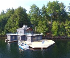 Muskoka Lakes Boathouse with cupola Lake Dock, Lakefront Property, Water House, Log Cabin Homes, Boat Plans, Rustic Design, Boathouse, The Great Outdoors, Architecture