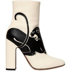 Valentino Women 110mm Panther Leather Boots ($1,520) ❤ liked on Polyvore featuring shoes, boots, light ivory, real leather boots, high heel shoes, leather boots, ivory leather boots and side zip boots