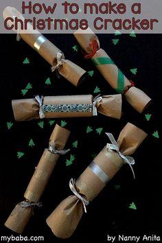 How to make a Christmas cracker. Christmas Crackers, Christmas Crafts, Craft Ideas, Party, How To Make, Christmas Biscuits, Christmas Cookies, Parties, Christmas Crack