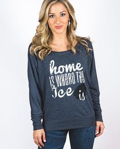 Life begins when the season starts, hockey fans! Perfect to cheer on your favorite teams, or to just sport all year if you love the ice as much as we do! This essential long sleeve tee gets a fresh update with a super soft poly-viscose blend, draped silhouette, and a wide neckline that can be worn both on or off the shoulders. Support your team in style this season with Live Love Gameday! Hockey Games, Hockey Mom, Hockey Players, Hockey Season, Hockey Shirts, Heat Press, Off The Shoulder, Long Sleeve Tees, Graphic Sweatshirt