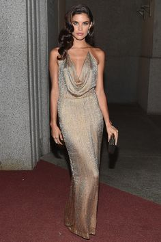 Sara Sampaio channelled Old Hollywood glamour in a vintage Gucci gown and jewels by Jacob & Co - October 19, 2015