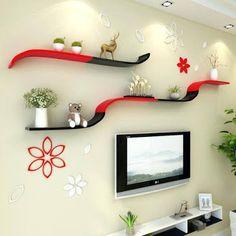 Best 50 Wooden wall shelves design ideas for modern homes 2019 Wooden Floating Shelves, Wooden Wall Shelves, Wooden Walls, Corner Wall Shelves, Wall Shelves Design, Africa Art, Indian Homes, Modern Homes, Interior Walls