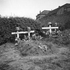 Duitse veldgraven langs de Grebbedijk bij Wageningen ter hoogte van de haven - 13-16 mei 1940 Veldgraven van gesneuvelde Duitse artilleristen langs de straatweg (thans Nude) bij Wageningen. Op het linker graf is de naam Nieswand te lezen (Kanonier Fritz Niesswandt van 9/AR 311, ingedeeld bij de 207e Inf.Div.), op het graf rechts daarvan de naam Steklies (Kanonier Erich Steckelies van 9/AR 311, ingedeeld bij de 207e Inf.Div.). De naam op het rechter graf is onleesbaar, mogelijk betreft het…