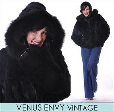 Vintage Genuine Black Natural Rabbit Fox Fur Jacket Coat Satin Lined Hoodie L XL