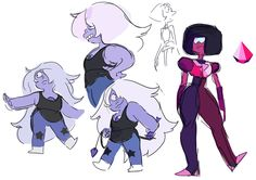 Concepts for New*Amethyst! At this time Garnet's new colors weren't 100% tied down, I wanted to work on them together to make sure they'd compliment each other. http://tmblr.co/Z6Cfjx1jkIAir