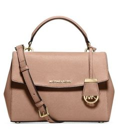 89d4cae7c1e42c Michael Kors Ava Mini XS Crossbody Satchel Saffiano Leather in Fawn Pink