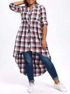Stunning Plus Size Plaid High Low Shirt