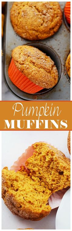 Pumpkin Muffins  www.diethood.com  Packed with pumpkin and topped with…