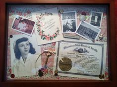 I made this shadow box in memory of an elderly friend who was a nurse, using old photos, certificates, pins and buttons. We gave it to the woman who cared for her in her last years.