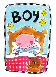 Een babyjongen in bed met zijn teddybeer- Greetz
