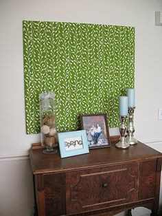 Fabric over mdf panel - inexpensive way to fill empty wall.