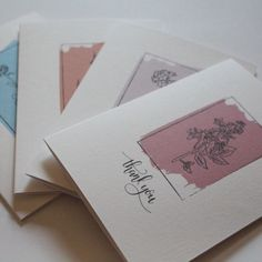 This set of 4 thank you cards is elegantly tasteful. Each card has a different line drawing of a flower, which sits on a different soft stroke of colour. The design is accompanied with a small hand lettered 'thank you' underneath. Different Lines, Line Drawing, Your Cards, Thank You Cards, Hand Lettering, Card Stock, Card Ideas, Envelope, Flora