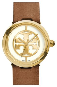 Tory Burch 'Reva' Leather Strap Watch, 36mm available at #Nordstrom