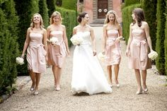 If not champagne maybe a dull pal epink  Pale-Pink-Bridesmaids