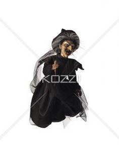 image of a witch flying on her broomstick. - Image of a witch flying on her broomstick over white background.