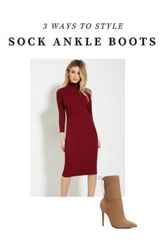 How to Style Sock Ankle Boots! Discover 3 easy  ways to style sock ankle boots this season. Click though to read the entire post! #fallfashion
