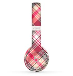 The Pink & Tan Plaid Layered Pattern V5 Skin Set for the Beats by Dre Solo 2 Wireless Headphones