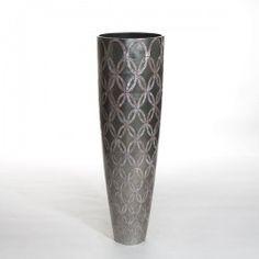 ETERNAL MEDIUM vase pattern platinum and MOP. #Cravt #DKhome #Craftsmanship #Living #Vases #Motherofpearl