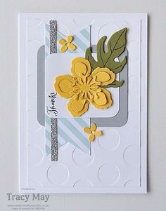 Thank You Card using more Stampin' Up! product for the Create with Connie and Mary Sketch Challenge #CCMC401 by Tracy May