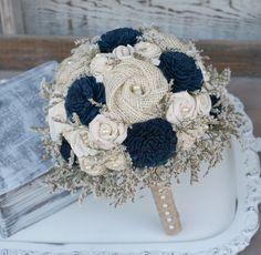Custom Hand Dyed Navy Blue & Wildflower Alternative Bride's Bouquet - Alternative Wedding Flowers - Wood Flowers, Fabric Rosettes, Burlap