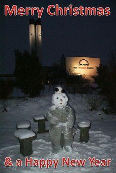 Merry Christmas from PrimeServ Four-Stroke Denmark. MANfred in front of the PrimeServ Academy in Holeby, Denmark