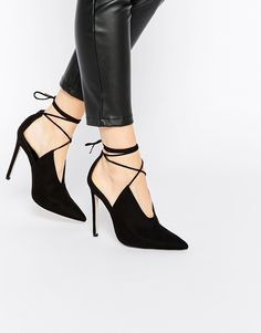 Image 1 ofASOS PROPELLOR Lace Up Pointed Heels
