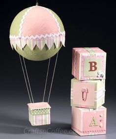 How to make custom Baby Blocks and a Hot Air Balloon Mobile to decorate a babys nursery. (Note: Decorative only!)