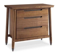 #Caracole // Bungalow Nightstand // Our Bungalow nightstand presents a classic Craftsman angular shape with three drawers and sculpted, recessed finger pulls.