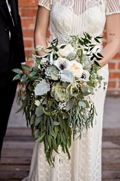 Succulent and Eucalyptus Cascade Bridal Bouquet -  Royal Bee Florals and Events