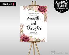 navy wedding welcome sign template printable marsala wedding poster