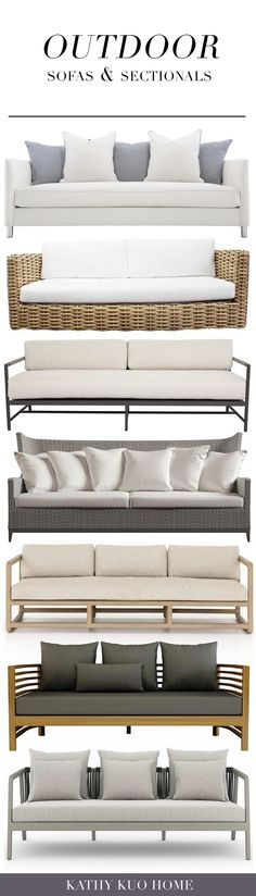 Click to shop outdoor sofas and sectionals from Kathy Kuo Home Outdoor Sofas, Outdoor Dining, Outdoor Spaces, Outdoor Furniture, Cozy Patio, Al Fresco Dining, Patio Chairs, Rustic Chic, Lounge