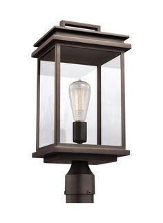 "Feiss OL13607 Chappman Single Light 17"" Tall Outdoor Post Light Antique Bronze Outdoor Lighting Post Lights Post Lights"