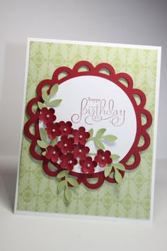 Perfect to wish someone a very Happy Birthday!    This card is made with Stampin Ups Whisper White, Cherry Cobbler and Lucky Limeade cardstock