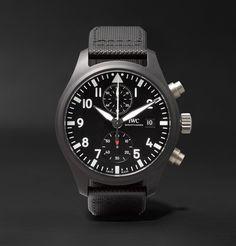 Iwc Schaffhausen Pilot's Chronograph Top Gun Ceramic And Leather Watch Top Gun, Iwc Watches, Watches For Men, Sport Watches, Iwc Chronograph, Iwc Pilot, Watch Companies, Mr Porter, Men's Apparel