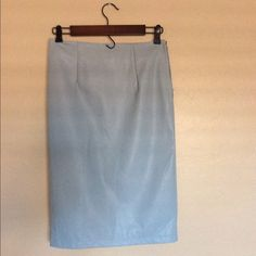 "Baby Blue Pencil Skirt | PU | Fully Lined | Size 2 Measurements Laid Flat: 25"" Long 