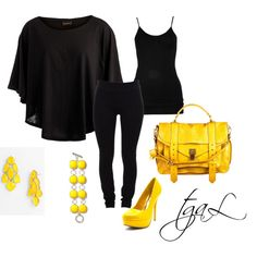 """""""Black dresscode with a yellow pop!"""" by tgaL04 on Polyvore"""