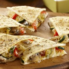 Keep flour tortillas on hand so you can prepare quesadillas anytime. Fill with your favorite vegetables and shredded cheese and you will have an appetizer or light meal.