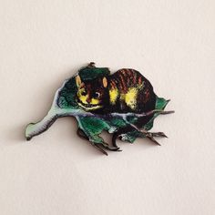 Cheshire Cat Wooden Brooch Alice in by TheRowanTreeOnline on Etsy