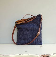 Modern Tote Bag - Navy Cross Body Bag - Plus Size Messenger Bag - Dark Blue Purse - Navy Blue Tote - Leather Strap 8