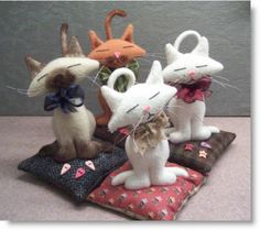 Cute Kitty Kat Pincushions with pattern & tutorial