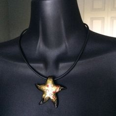 """Glass-Blown Star Necklace Gently to well worn condition. Necklace is 17"""" long. Star charm is 2"""" x 2"""".  Comes from a smoke-free, but not pet-free home. ➡️ Offers welcomed.  No trades. No holds.  Fast shipping! Jewelry Necklaces"""
