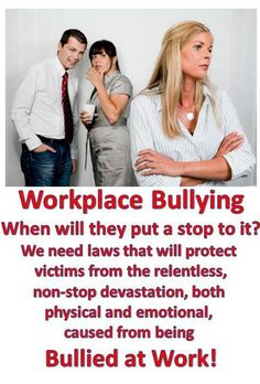 Do you feel like you've been bullied at work? How did you deal with it? Think lawmakers should focus as much of their attention on adult victims as they do on bullied kids?    For much more information on this and more Go To: http://workplace-bully.com