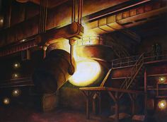 Commissioned Painting: Steel Mill - JACQUE OMAN