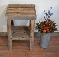 Eco Friendly Barnwood Wood End Table Or Night Stand