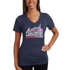 Montreal Canadiens Ladies Tri-Blend Script Bar Logo V-Neck T-Shirt - Navy Blue