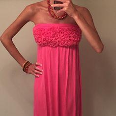 Price!  Pink Rosette Maxi Dress