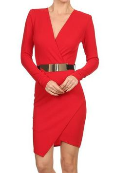 Long Sleeve Red Dress with Belt