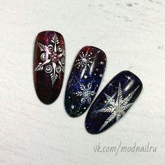 Xmas Nails, New Year's Nails, Holiday Nails, Christmas Nails, Nail Art Noel, Snowflake Nail Art, Winter Nail Art, Winter Nails, Fancy Nails