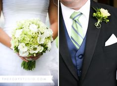Photography by Samantha McGranahan, The ROXY Studio....... Greenish flowers for the bridesmaids and the tuxes are perfect for the dudes.